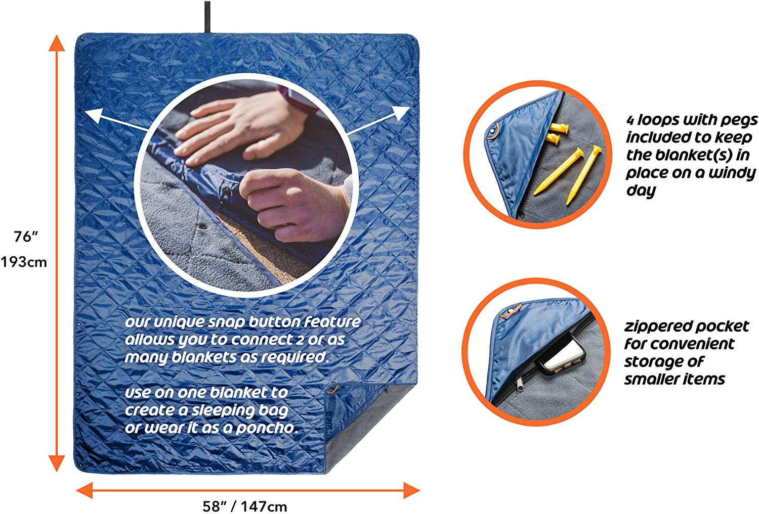 Connect Outdoors Camping Blanket Waterproof Windproof Packable Foldable Extendable Warm Quilted Fleece for Picnic, Beach, Backpacking, Travelling, Festivals, Pet - Car Seat Cover, Large 76 x 58 Inch: Kitchen & Dining