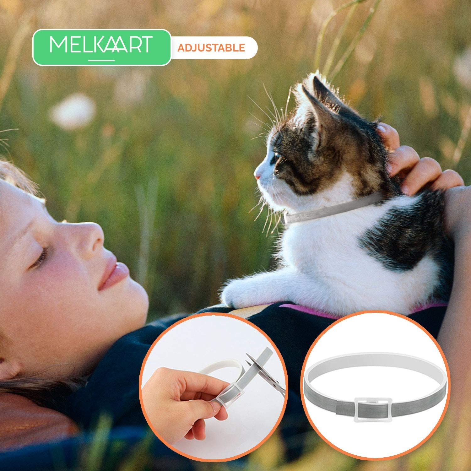 and Senior Cats Waterproof Collar 8 Months Protection Melkaart Collar for Kittens Hypoallergenic and Safe Design One Size Fits All Control and Treatment for Cats Adults