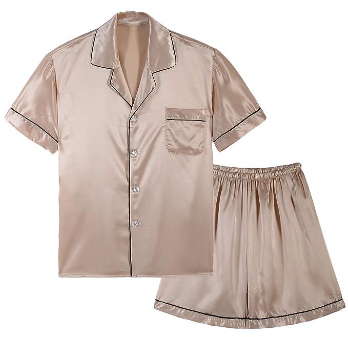Amazon.com: Respeedime - Pijamas de verano de seda para ...