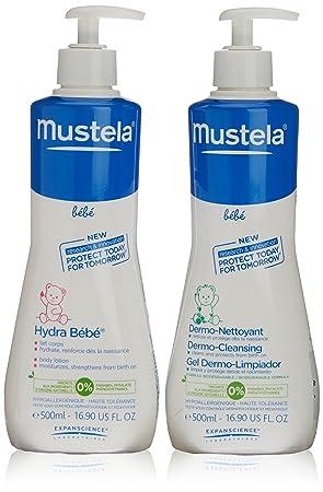 Mustela - Bebe leche hidratante 500ml + gel dermo limpiador 500ml Bebe: Amazon.es: Belleza