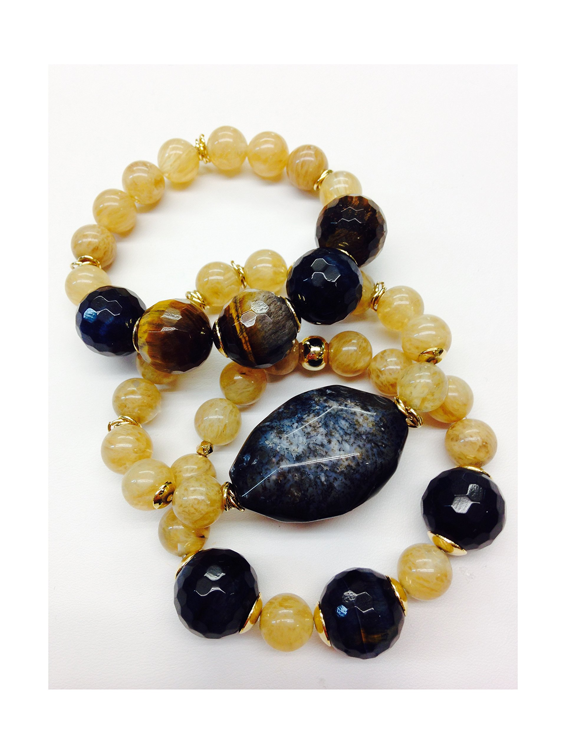 Set of 3 Handmade Bracelets - Amber Quartz, Blue Tiger Eye, Brown Tiger Eye & Exotic Jasper Natural Stones & Goldfilled Beads by Formula Moda