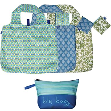 rockflowerpaper Blue Green Lime Printed Ikat Floral Blu Bag Pack of 3 Reusable Grocery Shopping Bag, Eco-friendly Convenient Machine Washable Everyday Totes