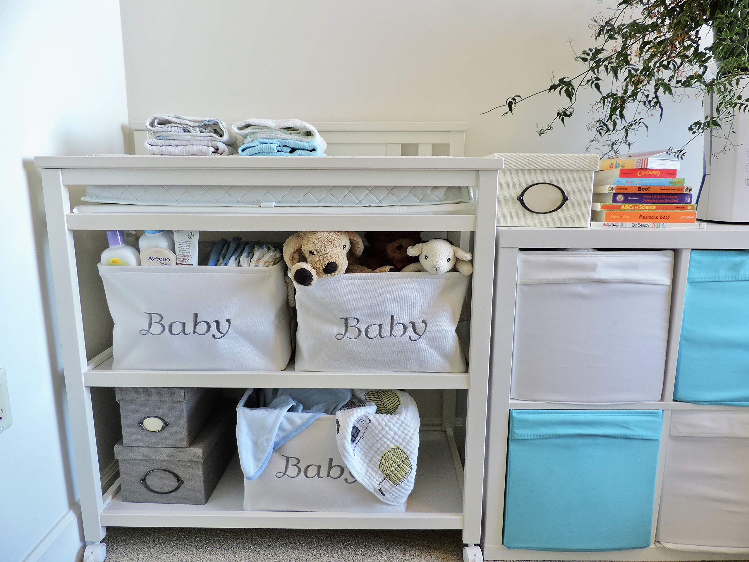 Storage Basket for Nursery, Baby girl or boy, White Canvas fabric Storage Bin with Gray Embroidering. Perfect as Nursery Organizer and Storage, Decorative storage box. Great Baby Shower Basket idea.