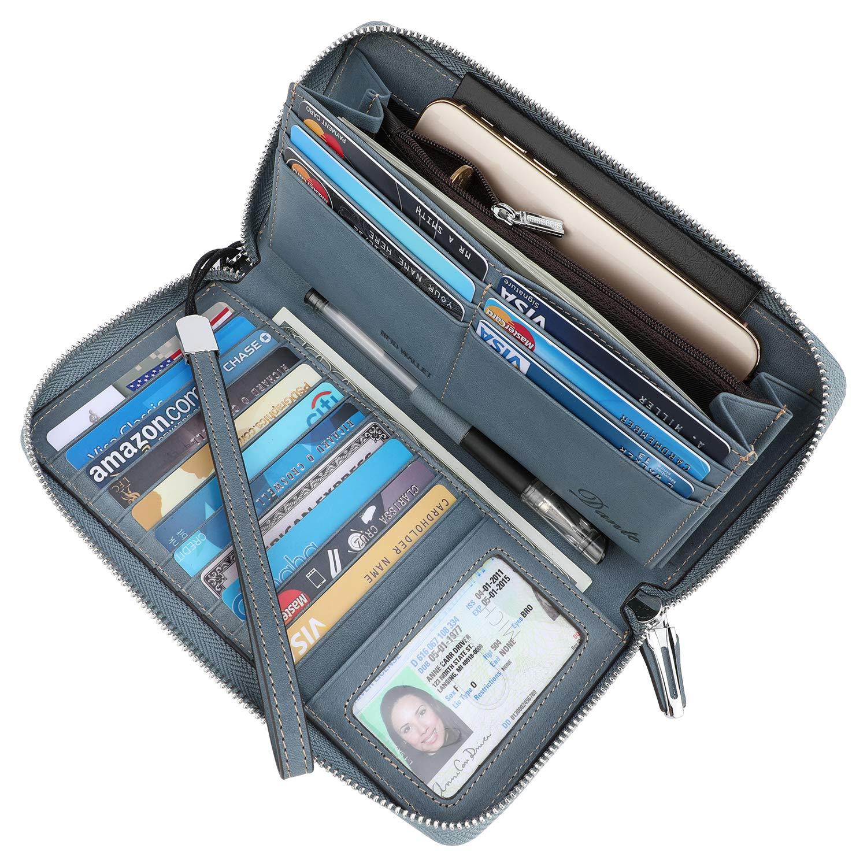 Lavemi Women's RFID Blocking Real Leather Zip Around Wallet Clutch Large Travel Purse Wristlet(Large Size Vintage Light Blue)