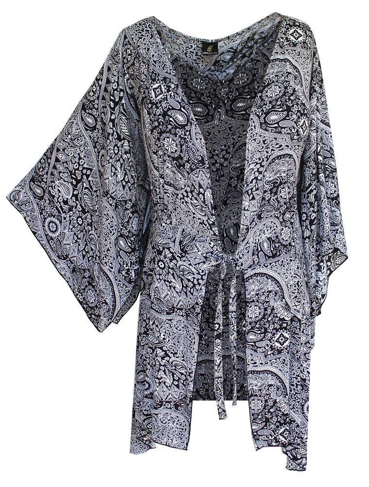 Fashion Fulfillment Womens Clothing Plus Size Kimono Tunic Cardigan, Kimono Sleeve, Plus Size 1X 2X 3X (One Size: 2X/3X, Black White Paisley) by Fashion Fulfillment (Image #1)
