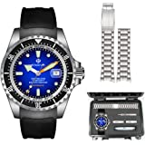 ENRIVA Men's 1000 Meters Automatic Self-Wind Professional Diver Watch with DIY Change The Band for Men-Blue Silver