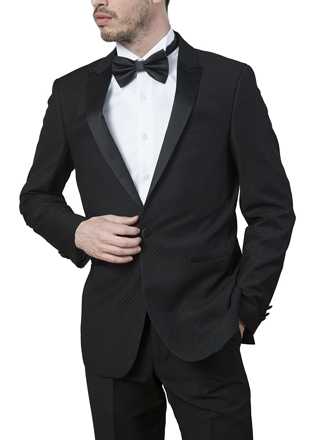 London Fog Men/'s Peak Lapel Regular Fit Two Piece Tuxedo Suit