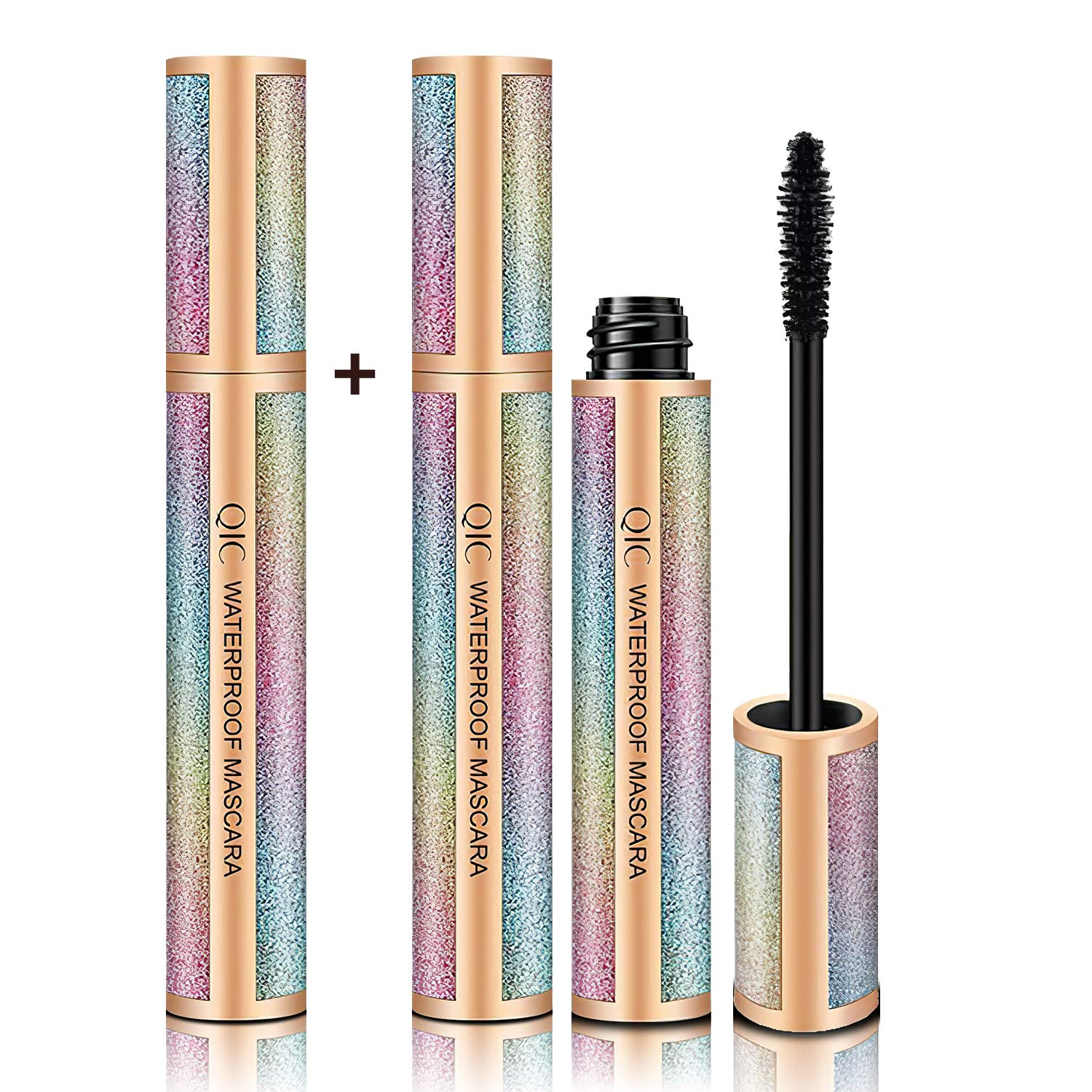 Vafee 4D Silk Fiber Lash Mascara,2 Packs, Luxuriously Longer, Thicker, Voluminous Eyelashes, Long-Lasting, Dramatic Extension, Waterproof Smudge-proof, Hypoallergenic Formula