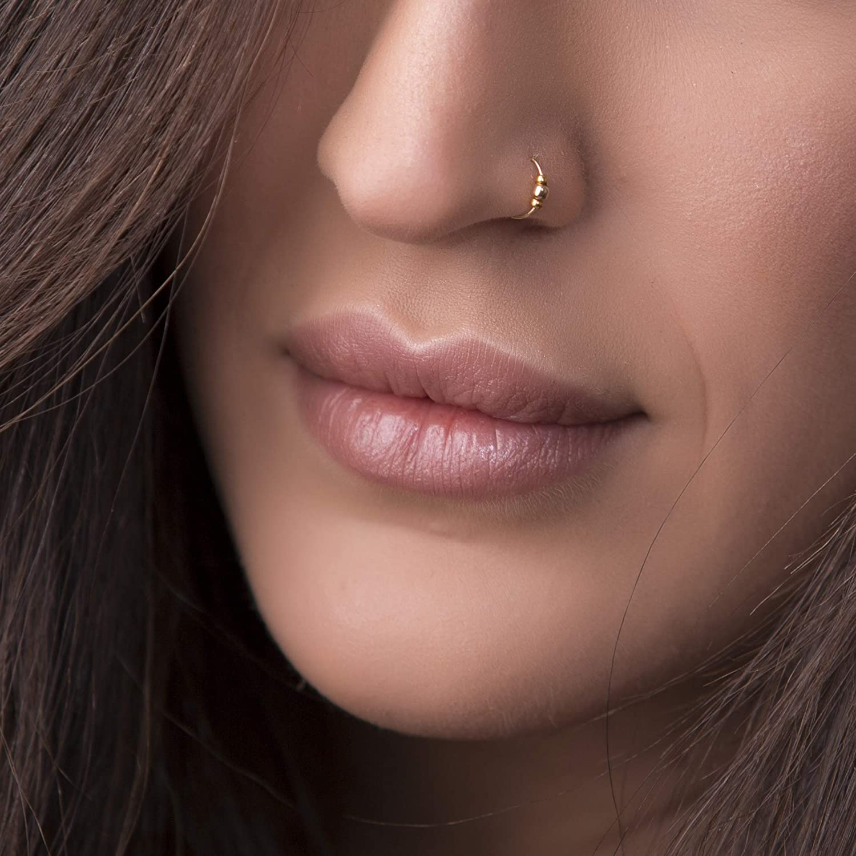 24 Gauge 14k Gold Filled Nose Piercing hoop Thin Gold Nose Ring