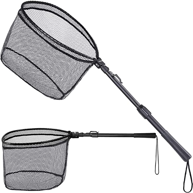 Balacoo Fishing Net Fish Landing Net Foldable Collapsible Telescopic Fishing Tackle Accessories Blue