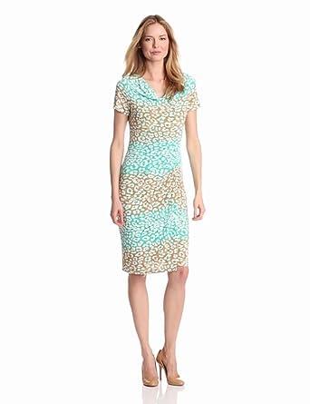 Jones New York Women's Cowl Neck Print Dress, Indian Turquoise Multi, 6