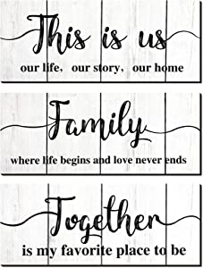 Jetec 3 Pieces Rustic Print Wooden Wall Signs This is Us Sign Family Together Rustic Wooden Signs Wood Wall Signs Decoration for Home Wall Decoration (Light Gray)