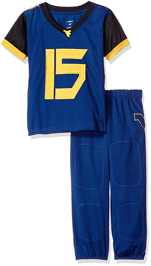 FAST ASLEEP NCAA West Virginia Mountaineers Boys Toddler Junior Football  Uniform Pajamas 577277485