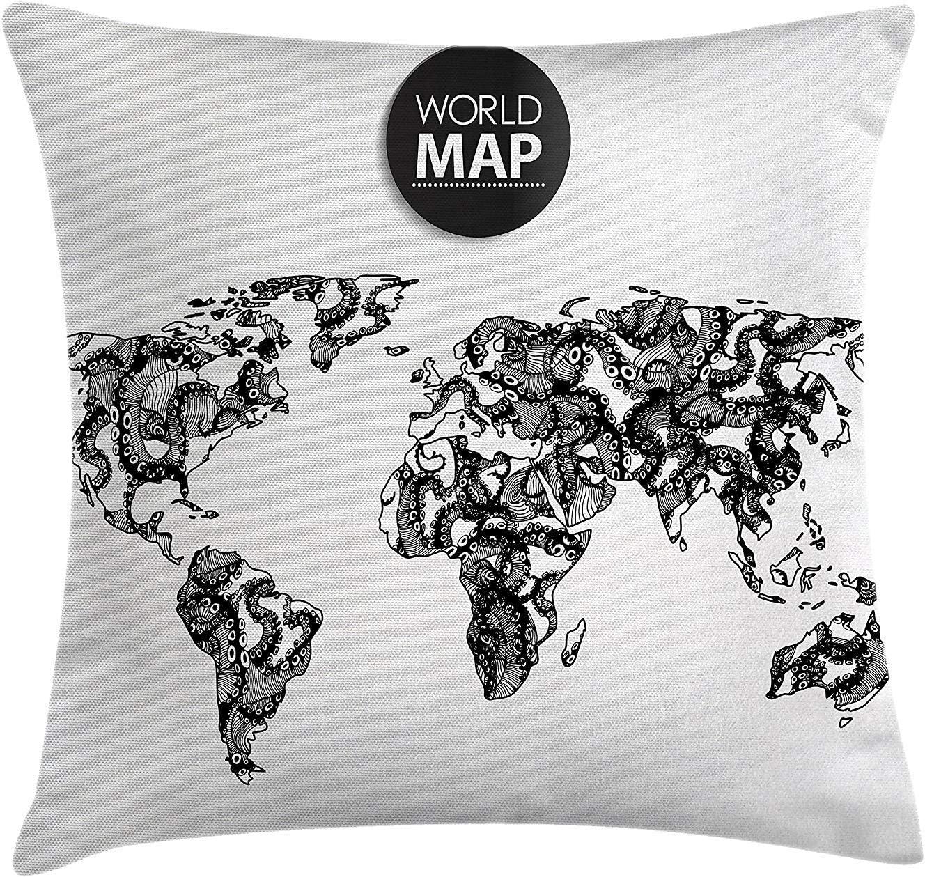 Wanderlust Throw Pillow Cushion Cover, Modern Elements of