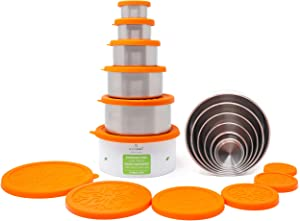 ecozoi Stainless Steel Food Storage Containers| Leak Proof Lunch Box 6 Pc Set with Silicone Lids | Bonus Cotton Carrying Case | Zero Waste Packaging | Eco Friendly Bento Box