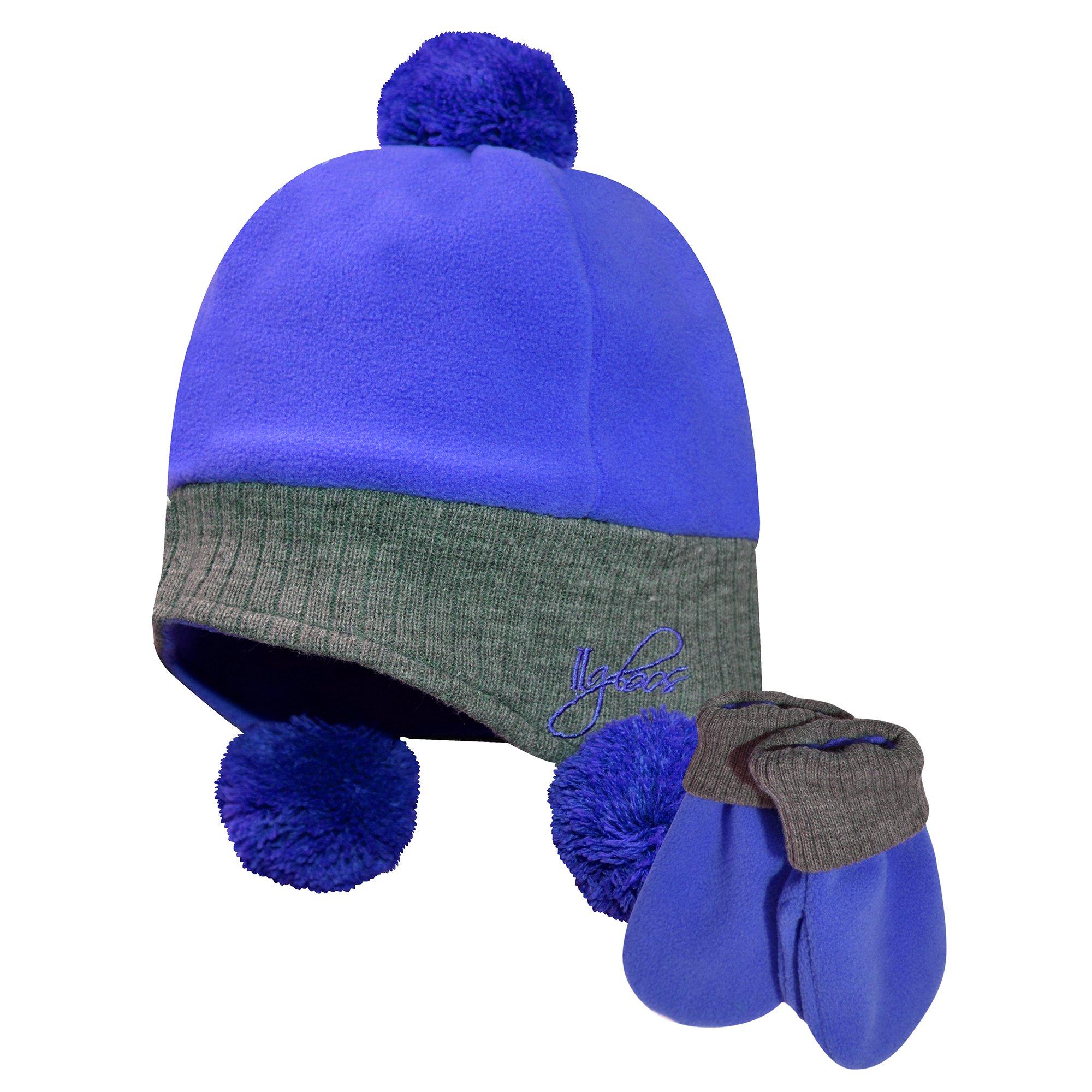 Igloos Girls Fleece/Acrylic Flap Cap & Mitten Set, Sapphire, One Size/Size 4-6X