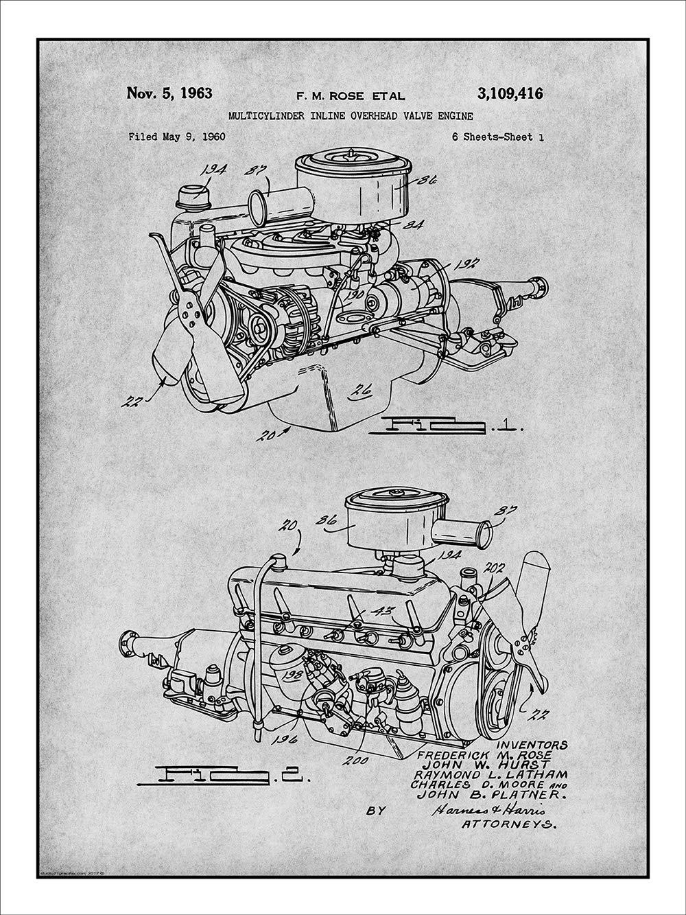 amazon com: studio 21 graphix 1960 chrysler 220 slant six engine patent  print art poster unframed gray 18