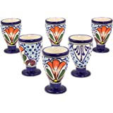 NOVICA Hand Blown Multicolor Floral Ceramic Cordial Glasses, 2 oz. 'Radiant Flowers' (set of 6)