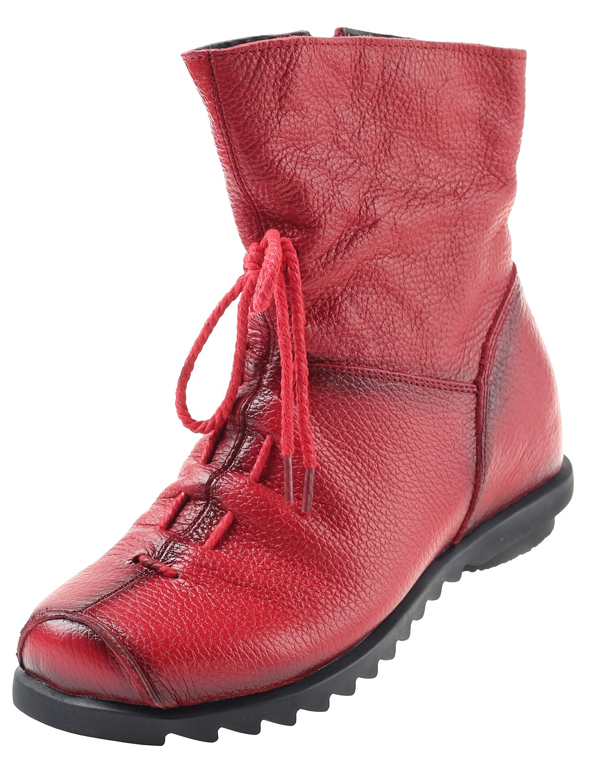 Mordenmiss Women's Side Zipper Leather Ankle Toe Cap Boot Style 2-Red-Fleece-41