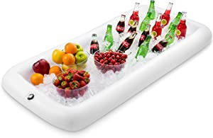 """premium Inflatable Salad Bar Tray With New Innovative Valve for EASY Inflation - Deflation By Outdoorwares Food & Drink Holder For Picnics, Barbeques & Parties – 52"""" x 22"""" x 4.5"""""""