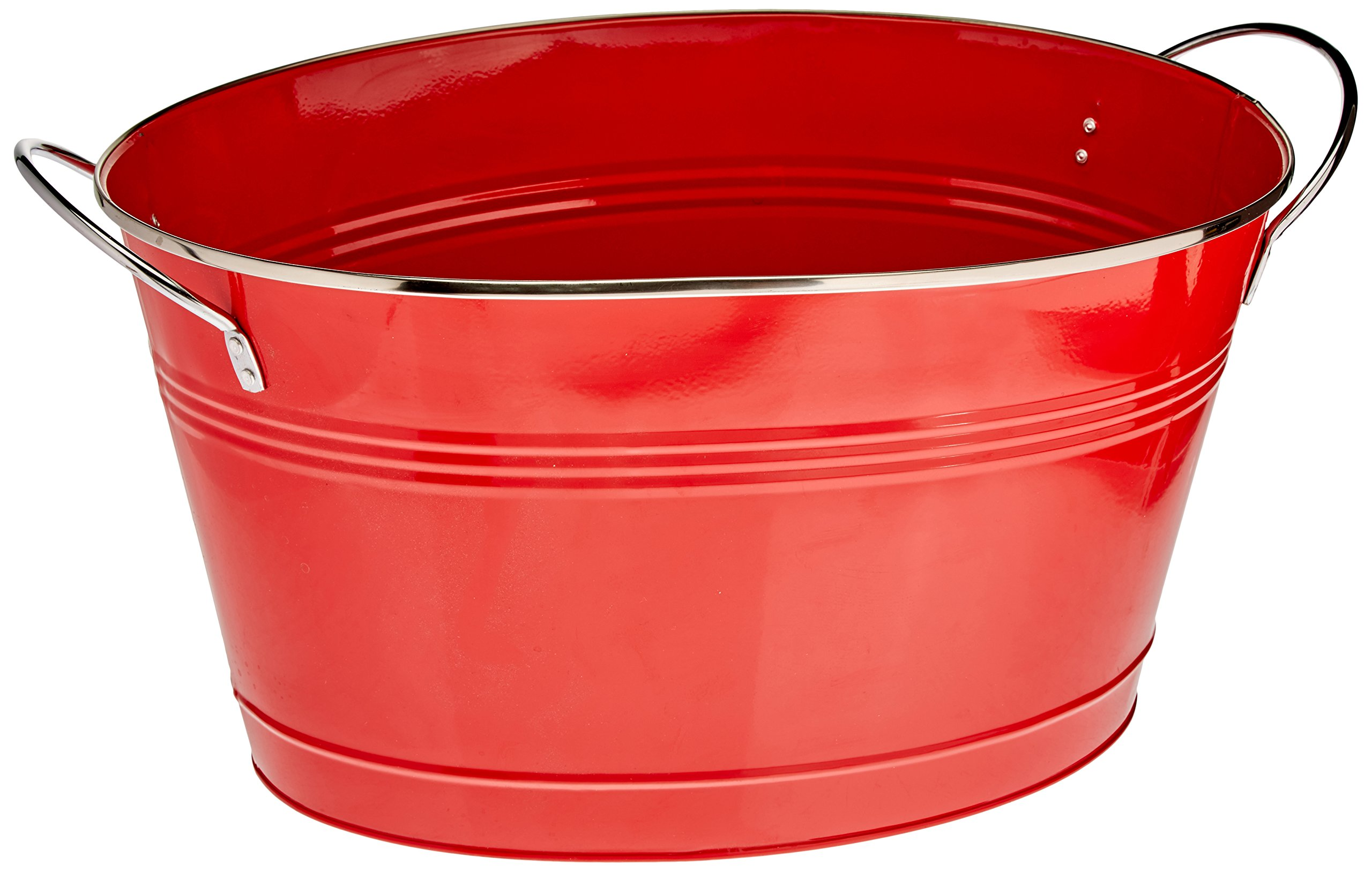 Twine Country Home Large Red Galvanized Metal Tub and Drink Bucket by