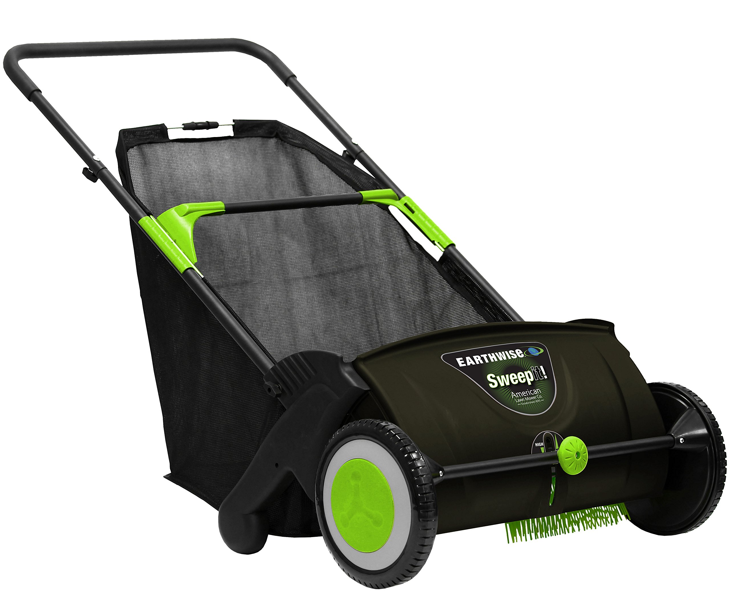 Earthwise LSW70021 21-Inch Leaf & Grass Push Lawn Sweeper, Width, With Rear Collection Bag by Earthwise