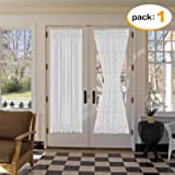 H.Versailtex Elegant Soft Linen French Door Curtains - Light Filtering Curtain Panel, Rod Pocket Door Panel - 52W by 72L Inches - White - Single Panel
