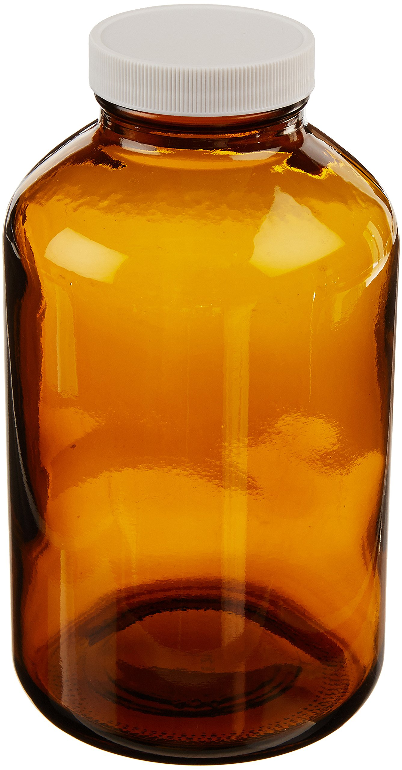 JG Finneran 9-225 Amber Borosilicate Glass Standard Wide Mouth Packer with White Polypropylene Closure and 0.015'' PTFE Lined, 53-400mm Cap Size, 32oz Capacity (Pack of 12)