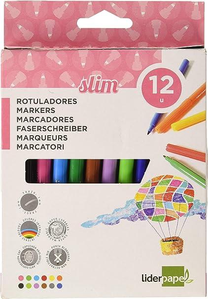 Liderpapel - Rotulador Caja 12 Colores: Amazon.es: Oficina y papelería