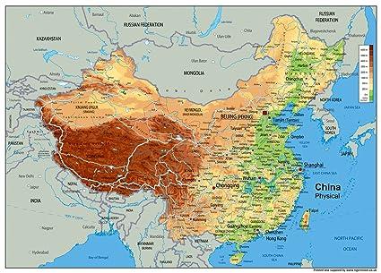 Cartina Geografica Della Cina.Cina Mappa Fisica Carta Plastificata A0 Dimensioni 84 1 X