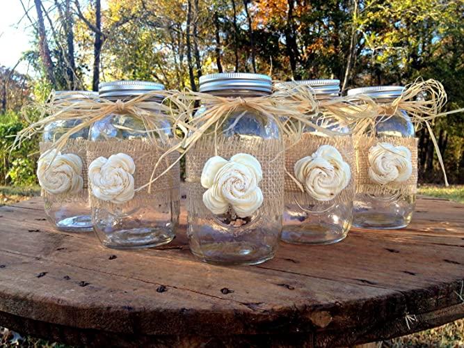 Amazon.com: Rustic Mason Jars with Sola Flower - Rustic Wedding ...