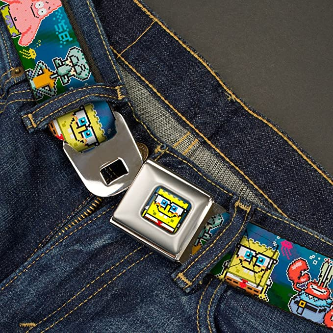 SpongeBob Expressions /& Friends Stacked 1.5 Wide 32-52 Inches in Length Buckle-Down Seatbelt Belt
