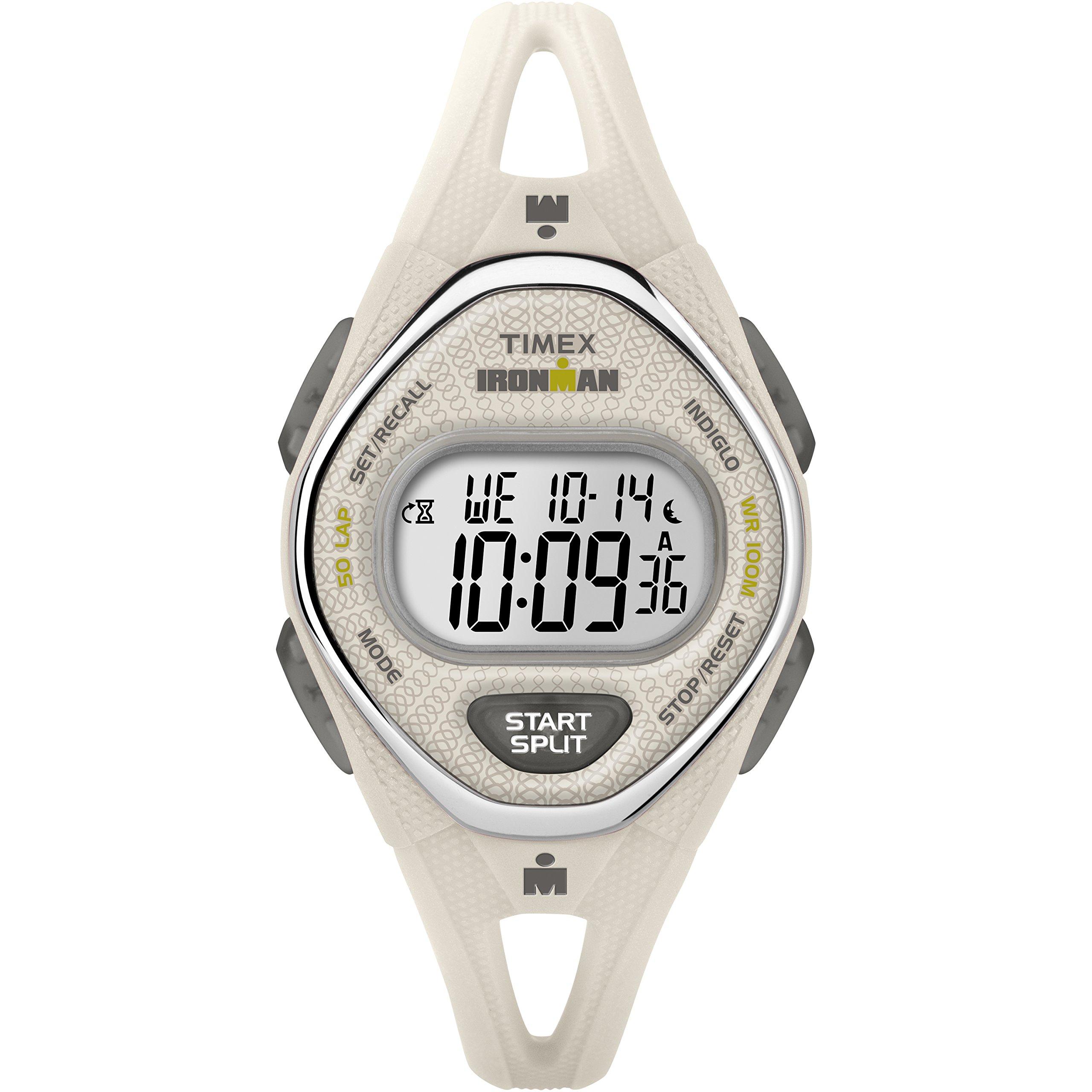 Timex Women's TW5M10800 Ironman Sleek 50 White Silicone Strap Watch
