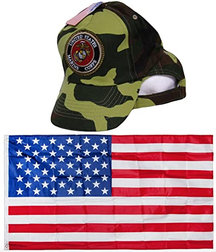 ce99ec563dd Camouflage Camo Marines USMC Marines Seal Crest Logo Embroidered Hat Cap    USA Flag 3x5 Super