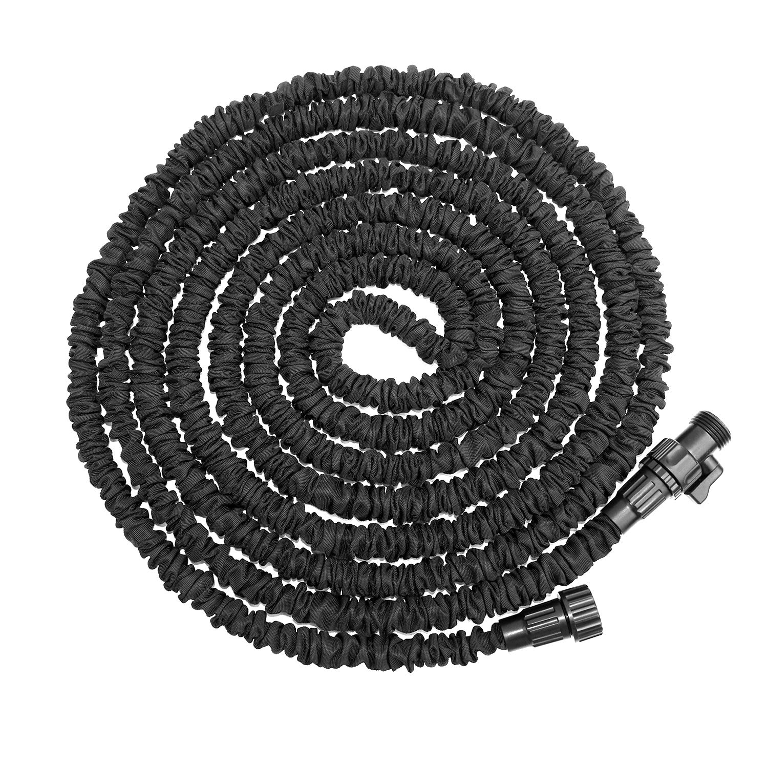 "ATLES Expandable Garden Hose 75 ft, Lightweight & Durable Expanding Water Hose, 3/4"" Solid Fittings and Double Latex Core Flexible Garden Hose for Car Cleaning Lawn Watering (Black)"