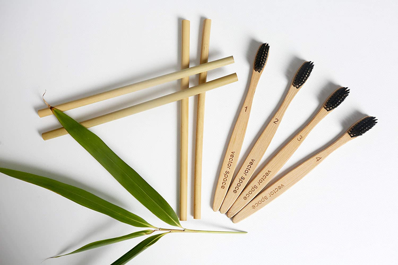 Cepillos de dientes de bambú con pajitas reutilizables, cerdas de carbón vegetal, sin BPA, paquete de 4 biodegradables, respetuosos con la familia, vegano, ...