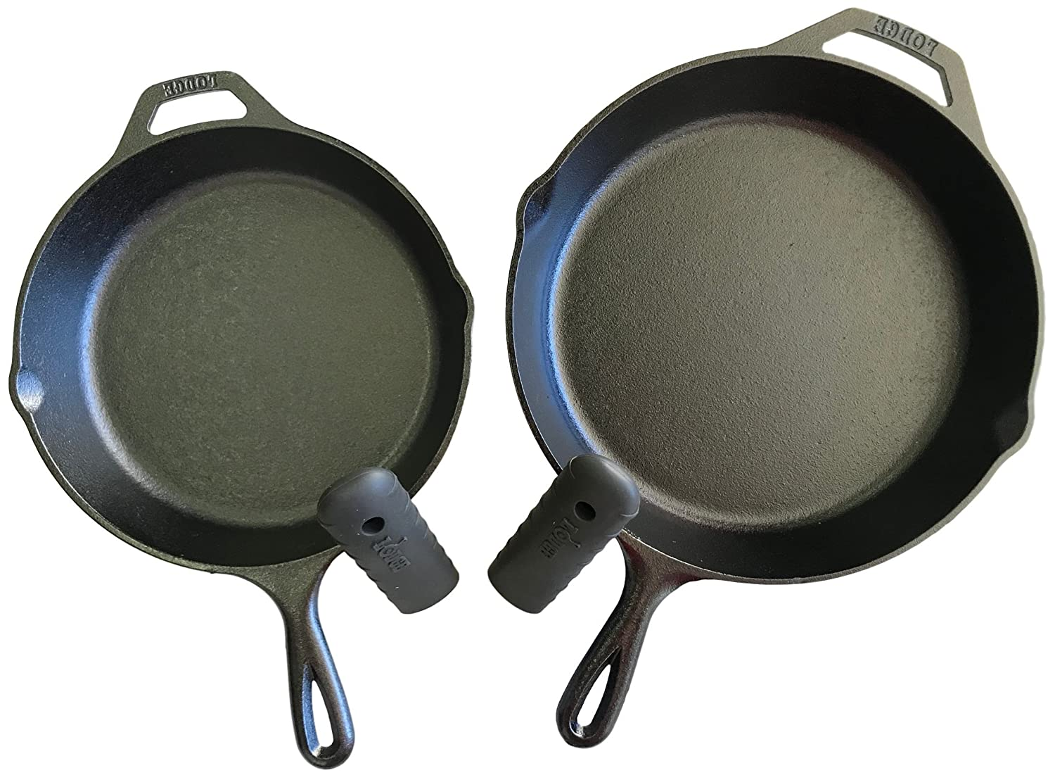 "Lodge Seasoned Cast Iron 2 Skillet Bundle. 12"" + 10.25"" Set of 2 Cast Iron Frying Pans"