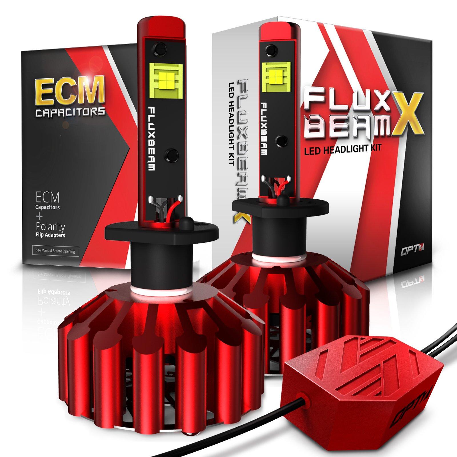 OPT7 Fluxbeam X H1 LED Headlight Bulbs - 8,400Lm 6,000K Daytime White - All Bulb Sizes - 60w - 2 Year Warranty