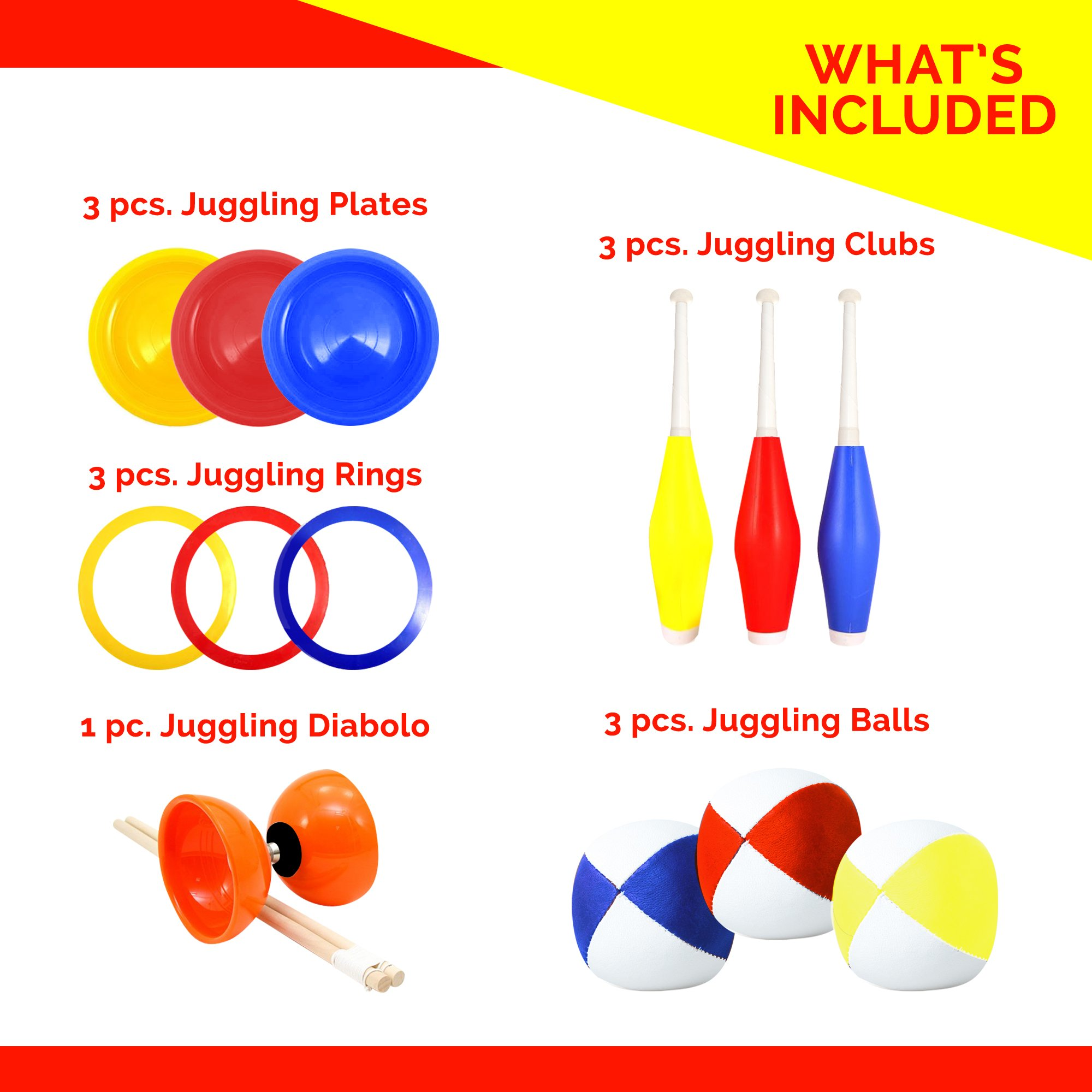 Beginners Juggling Kit - Balls (3), Pins (3), Plates (3), Rings (3), Chinese Yoyo Diabolo Advanced Set Cool Fun Unique Toy Gift Set For Boys and Girls by Juggle Mania (Image #2)