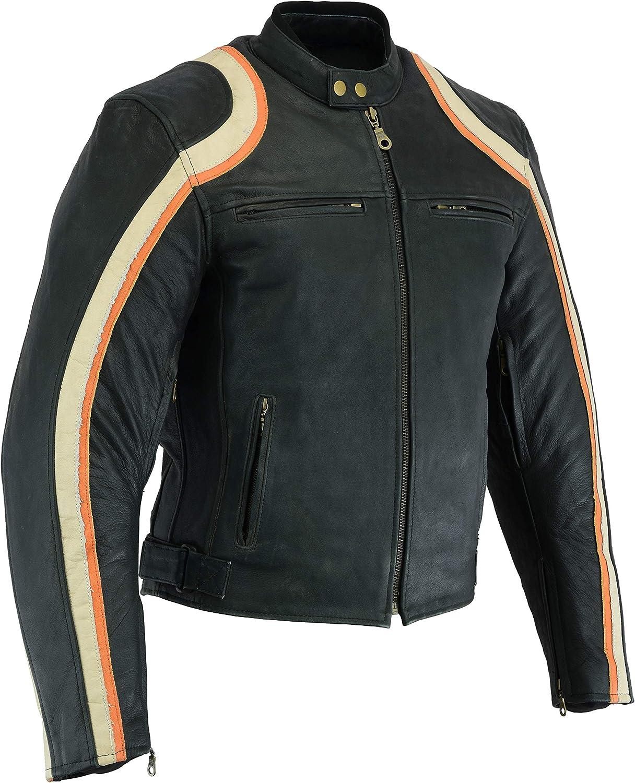 Turin Distressed Black /& Orange Racing Sports Leather Motorcycle Jacket M-5XL