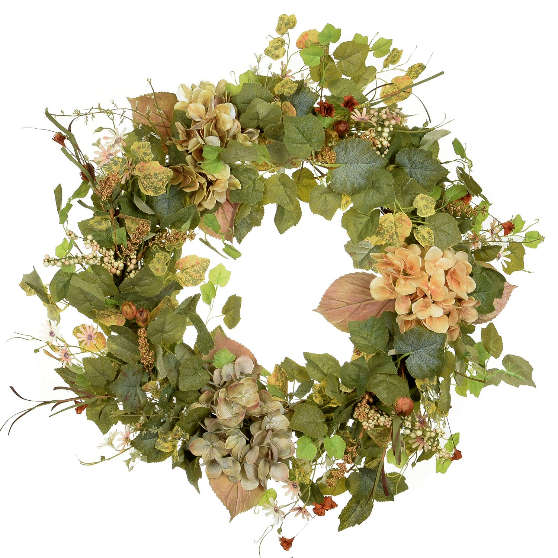 POETIC WREATH F3 Large 21 inch Green Wildflower Grapevine Wreath.Year Round Wreath.Spring Wreath.Summer Wreath.Front Door Wreath.Festival Wreath.Gifts Handmade Wreath.Rustic Wreath.Home Hanger by POETIC WREATH