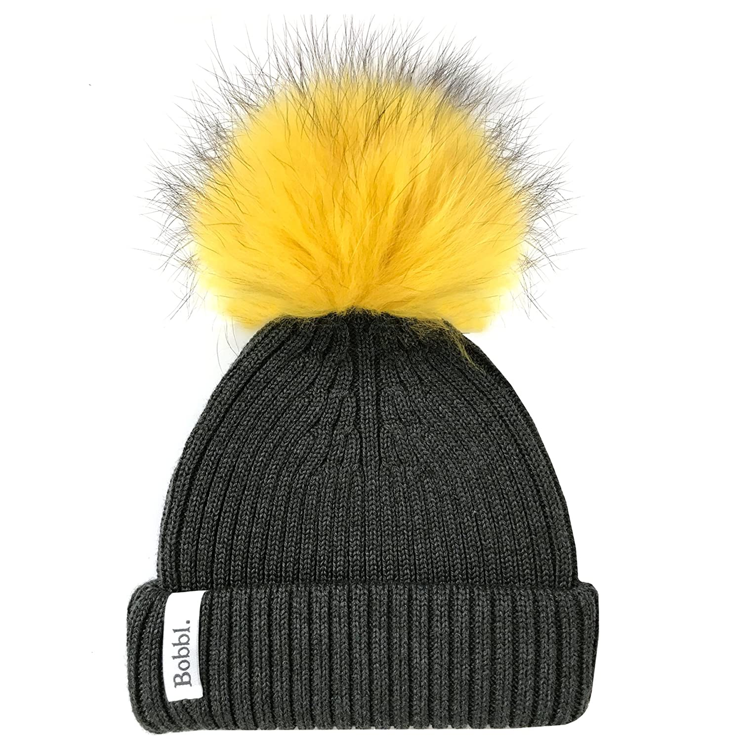 1434e9ca695 Charcoal Grey Classic Hat   Yellow Big Pom Pom  Amazon.co.uk  Clothing