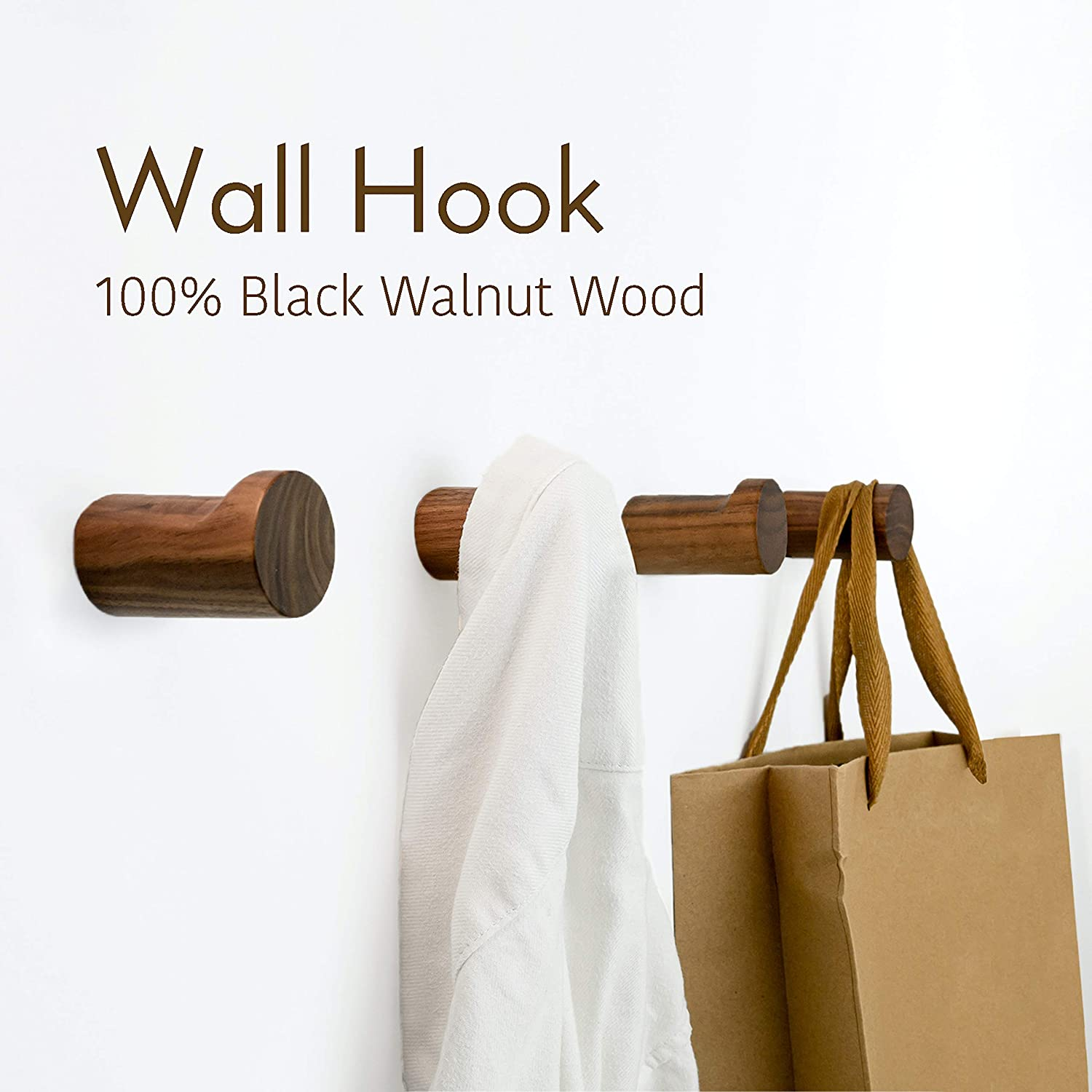 Handmade Minimalist Home Decor Wooden Pegs for Hanging Hat Pack of 4 NAUMOO Natural Wooden Wall Hooks Black Walnut Wall Mounted Modern Wood Coat Rack or Purse Towel