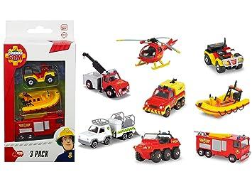 Fireman Sam Sam el Bombero - Pack de 3 vehículos (Modelos Surtidos)