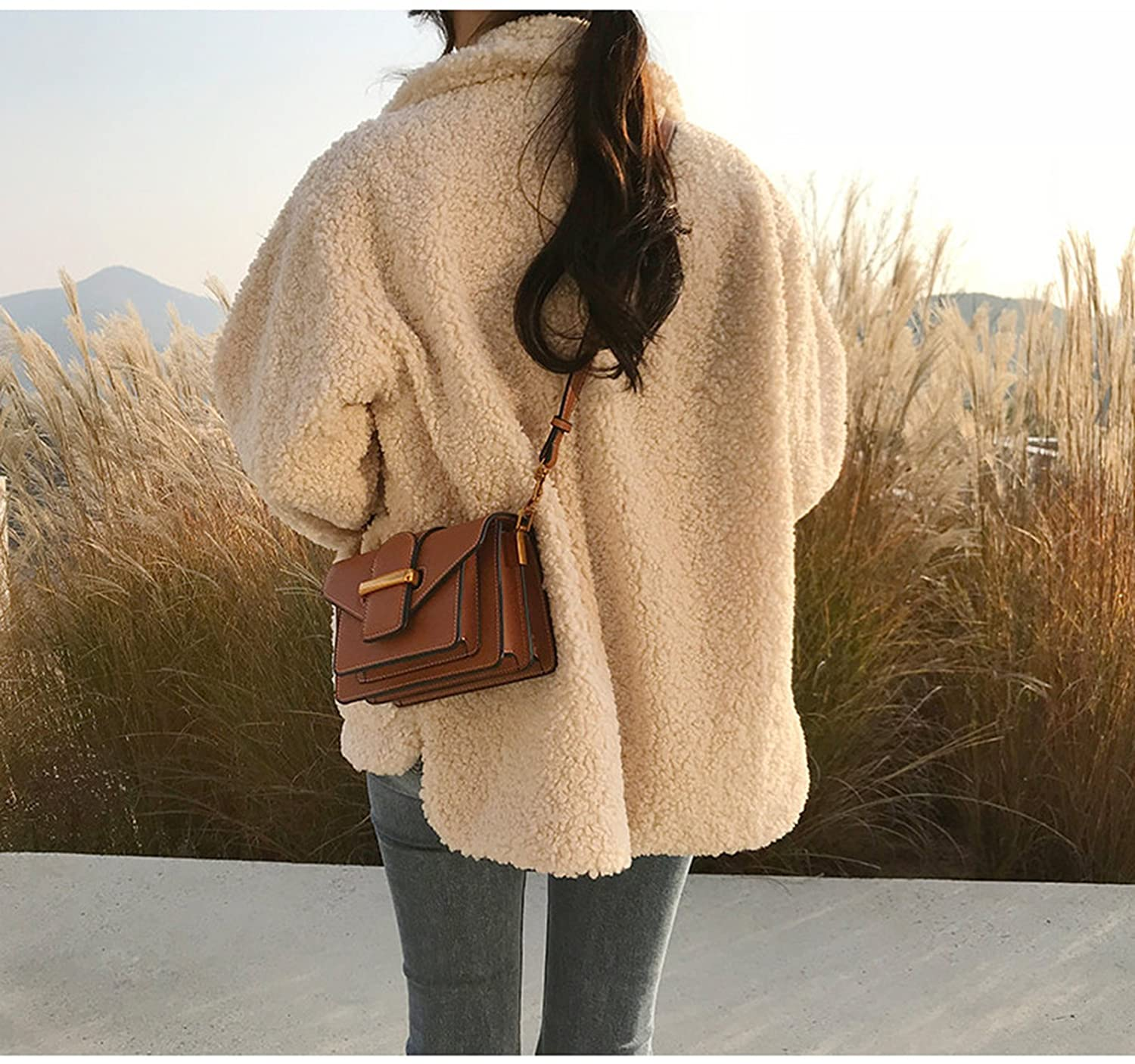 Luodemiss Womens Faux Shearling Coat Lapel Sherpa Long Sleeve Front Button Down Jacket Outwear