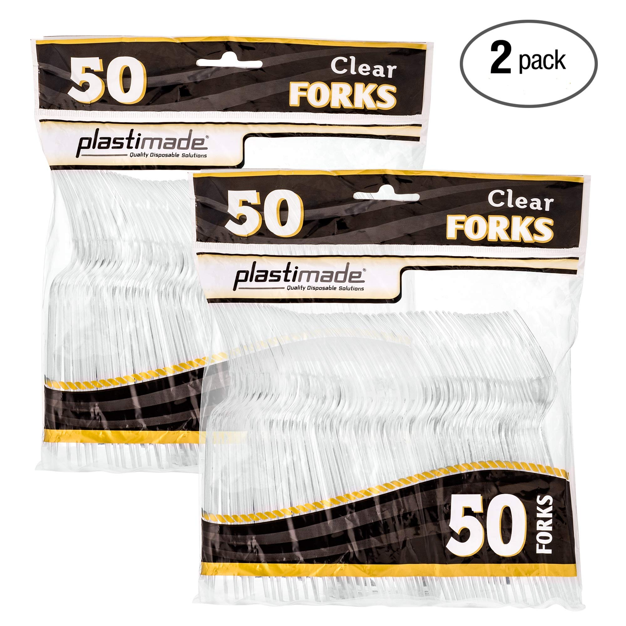 [100 Clear Forks] Plastimade Disposable Heavy Duty Plastic Cutlery,Great for Every Day Use, Home, Office, Party, Picnics, or Outdoor Events, by Plastimade