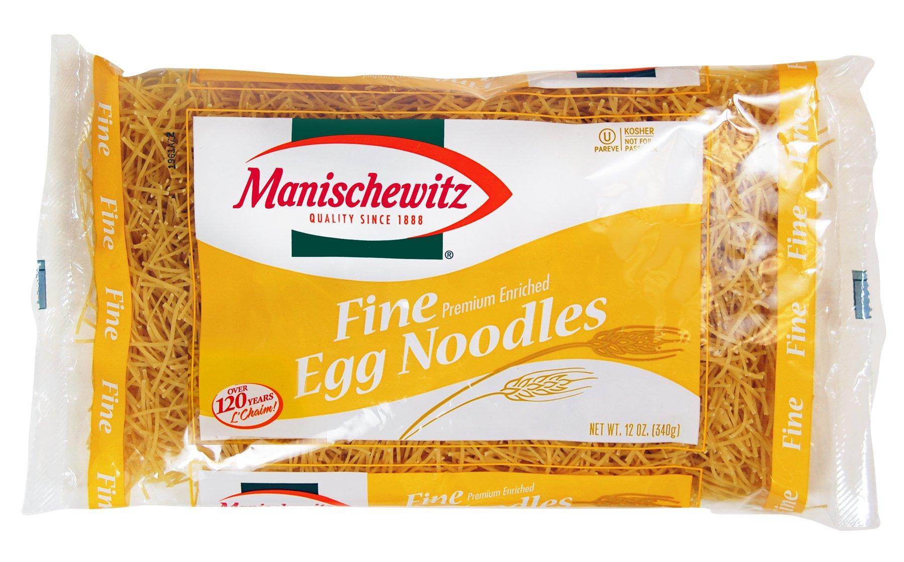 MANISCHEWITZ Fine Egg Noodles, 12-Ounce Bags (Pack of 12)