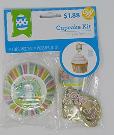 Easter cupcake topper kit with 24 colorful cups- Pastel striped sides with bunny picture on