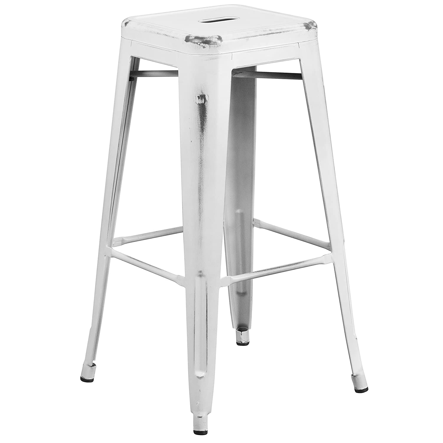 Flash Furniture 30 High Backless Distressed White Metal Indoor-Outdoor Barstool