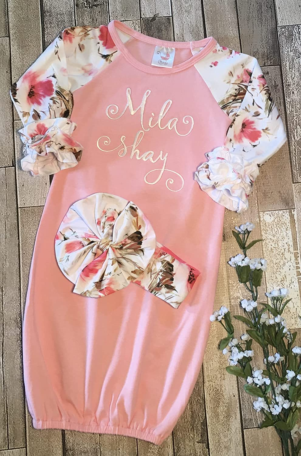 Newborn Gown Baby Girl Monogram Initial Floral Custom Embroidery Coming Home Outfit Flowers Pink